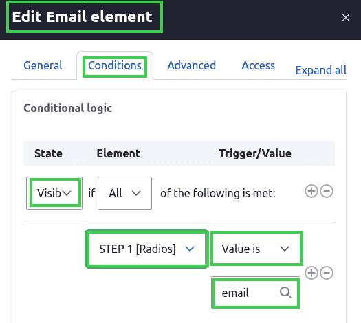 Edit Email Element